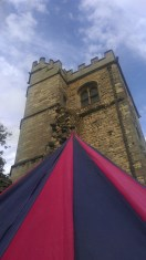 Our tent at Lincoln Medieval Bishop's Palace