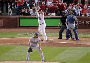 Matt Adams homers off Clayton Kershaw