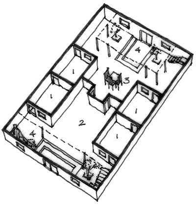 A typical floor plan of the mountain village residence