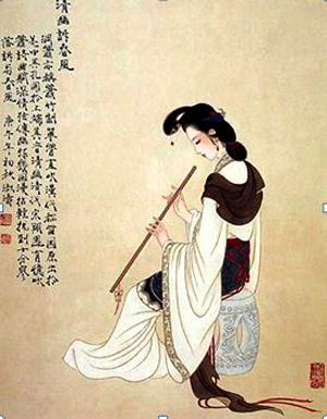 An ancient Chinese lady playing vertical flute