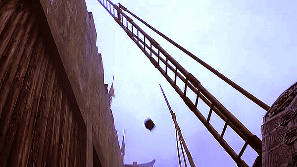 Tall bamboo ladders to mount the city wall