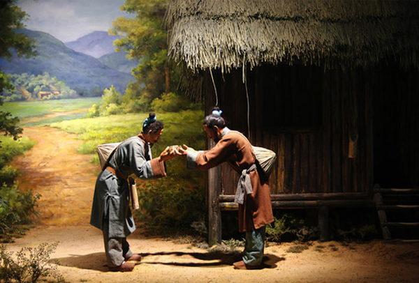 A scene of Chinese people's daily life during Qin Dynasty 2,200 years ago exhibited in Qin Document Museum at Liye, Hunan Province
