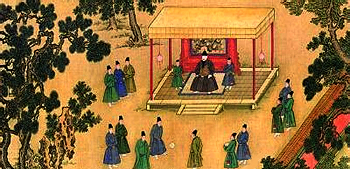 Ming Dynasty emperor watching soccer game