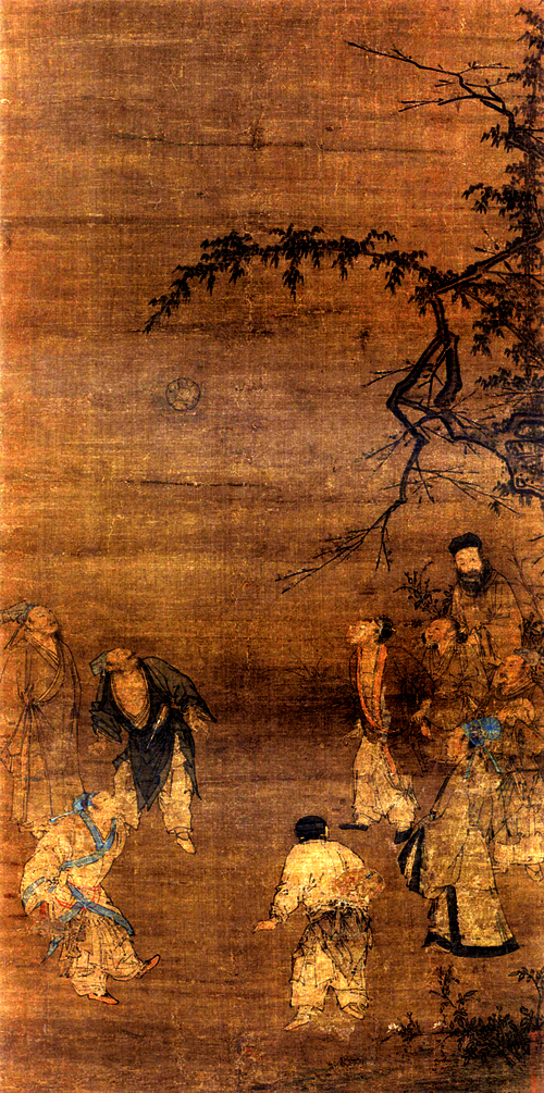 Ancient Chinese men playing soccer