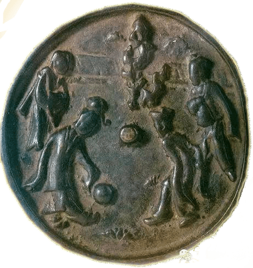 A bronze mirror with soccer image
