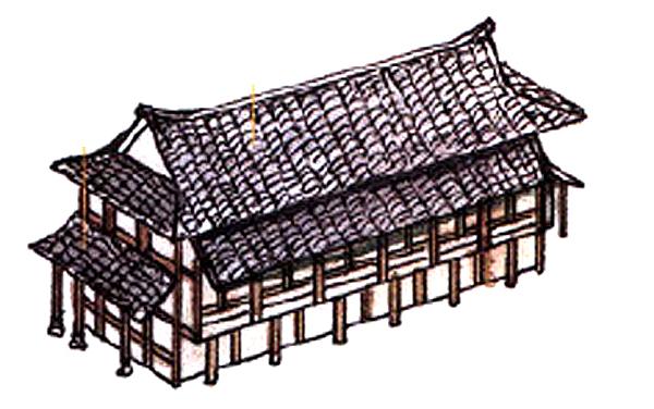 Traditional Chinese multi-leveled hip roofs
