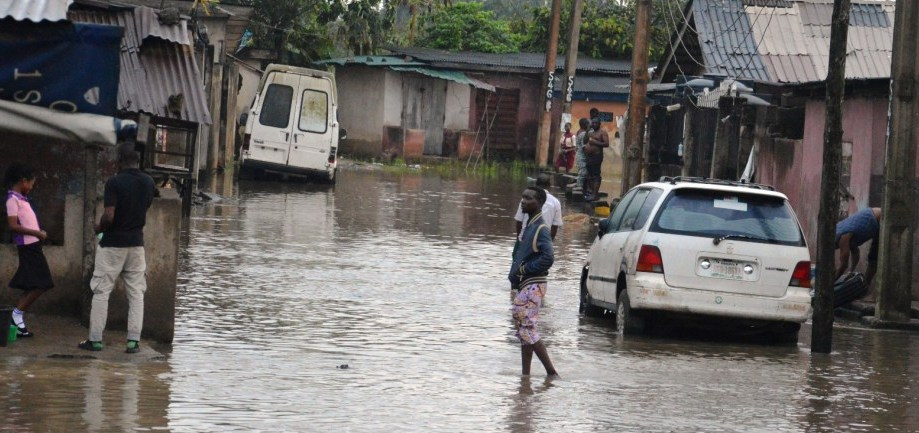 Three dead as town goes under water