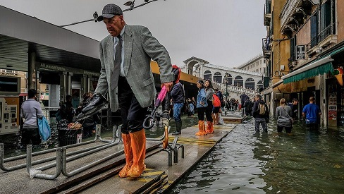 Venice under water as Italy hit by fierce wind and heavy rain