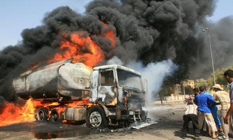 Residential buildings consumed in tanker inferno