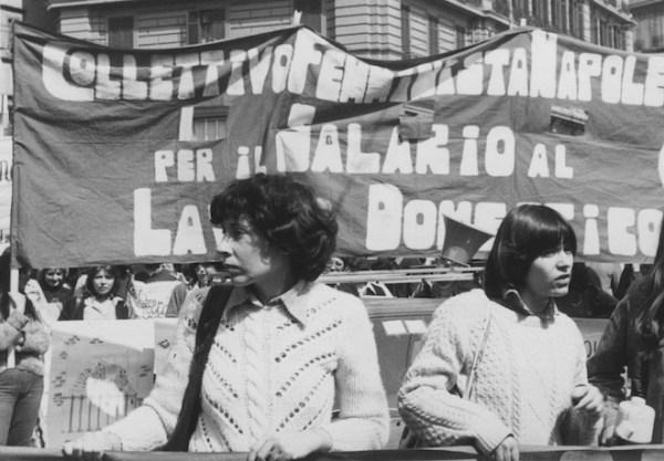 A May Day demonstration in Naples. From left: Mariarosa Dalla Costa, Leopoldina Fortunati.