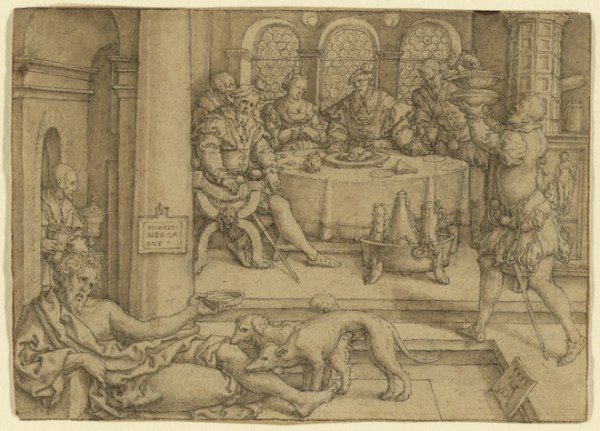 Lazarus Begging for Crumbs from Dives's Table (Heinrich Aldegrever, 1552)