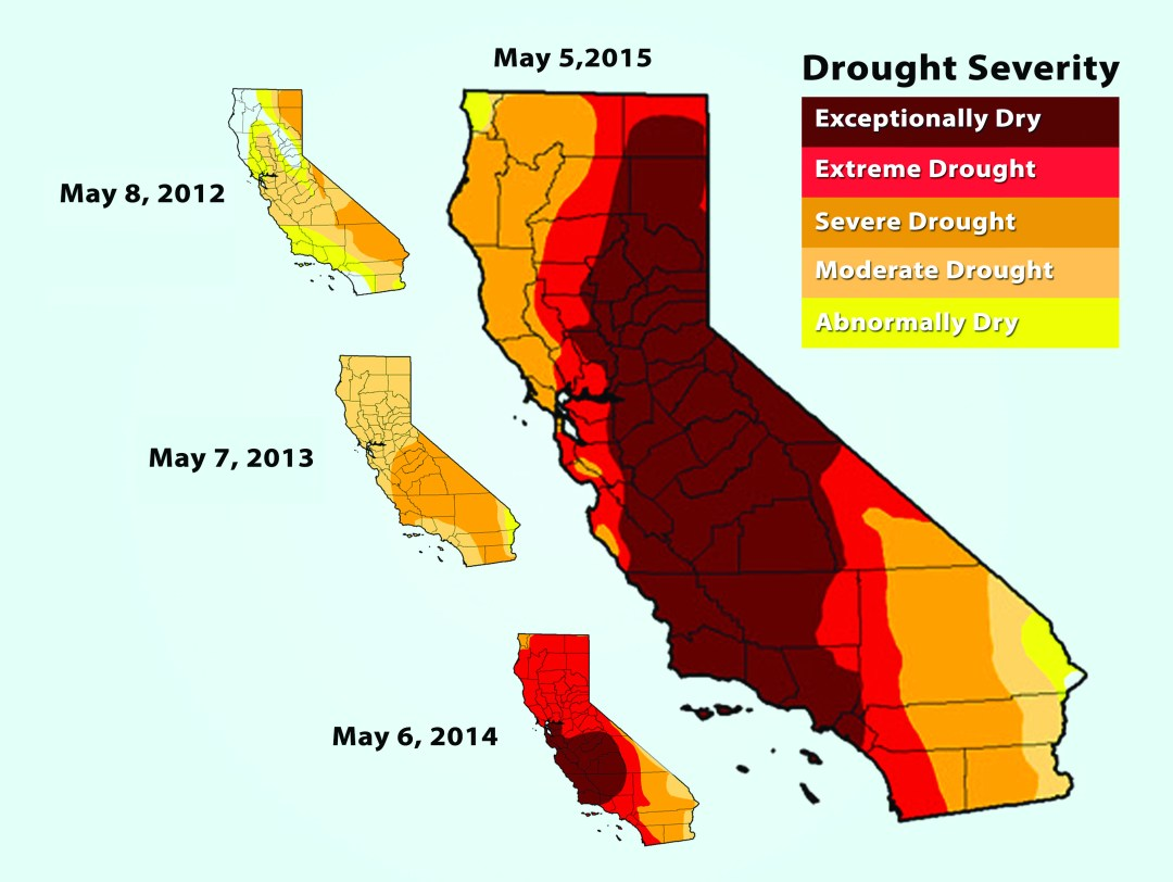 """Within a four year timespan, California's drought status has gone form being in a state of """"exceptional drought."""" GRAPHICS COURTESY OF UNITED STATES DROUGHT MONITOR"""