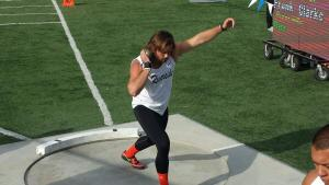 Riverside City College's Frank Clarke won first place in the shot put event with a throw of 16.04 meters at the Southern California Championships (Photo Courtesy of Jim McCarron)