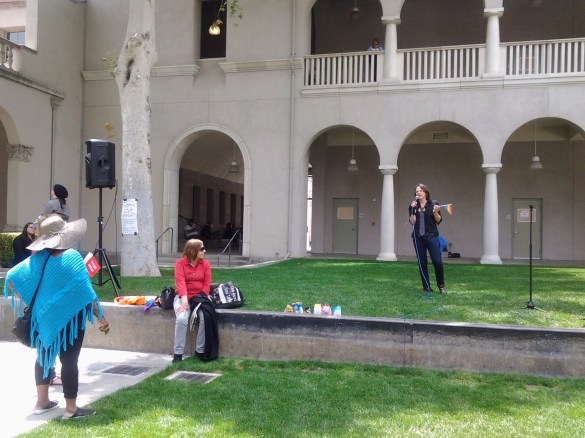 Jacquelyn Bang, a RCC part-time English instructor, offers her support at the GSA Rally. Crystal Olmedo | Viewpoints
