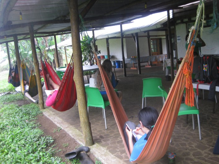 Students enjoying their downtime on hammocks at the Reserva Pajara Brujo in the highlands of Santa Cruz Island. Photo courtesy of Tonya Huff and Virginia White