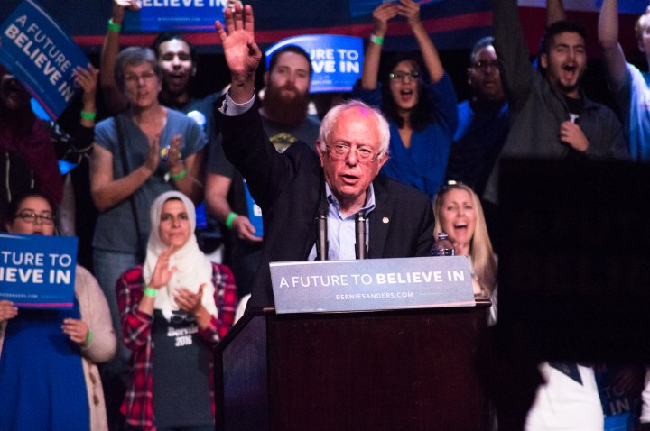 Democratic presidential candidiate Bernie Sanders addressed attendees of his rally at the Riverside Municipal Auditorium May 24.