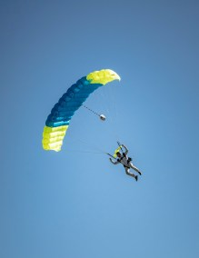 One of the Just in Time skydivers performing at the Riverside Airshow