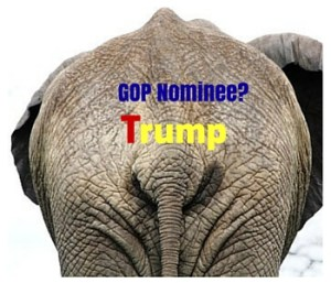 "Image of elephant rump with text ""GOP Nominee?"" Trump"