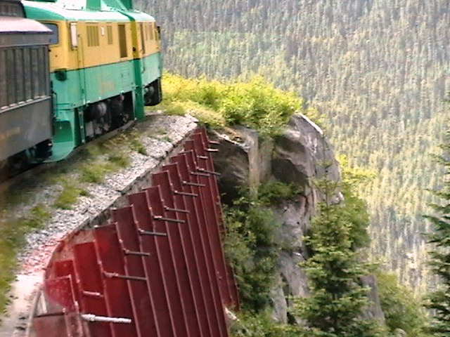 White Pass & Yukon train ready to round a bend