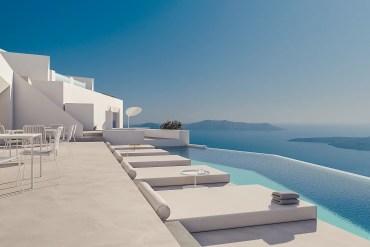 hôtel falaises de Santorin architecture design