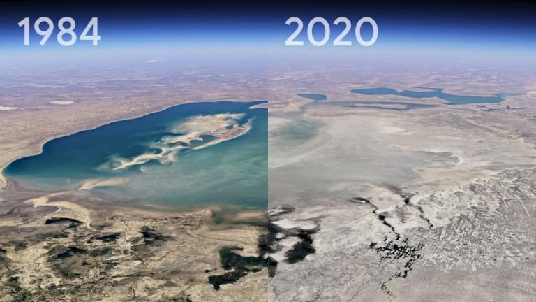 google earth timelapse réchauffement climatique