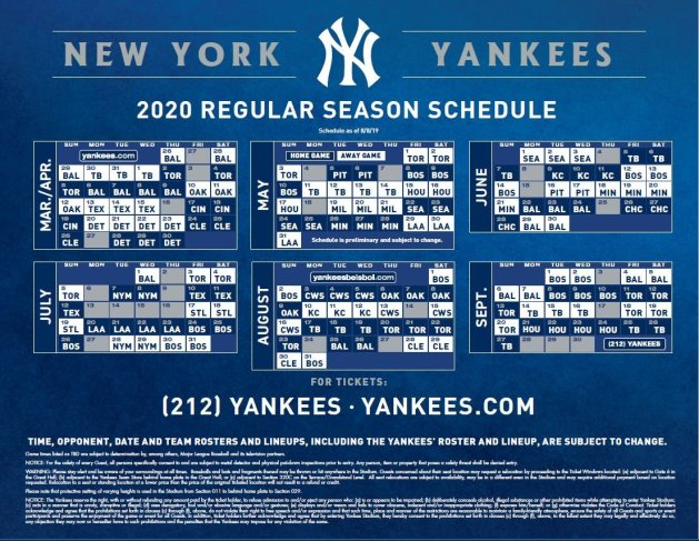 Yankees Schedule August 2020 Highlights from the Yankees' 2020 schedule   Views from 314 Ft.
