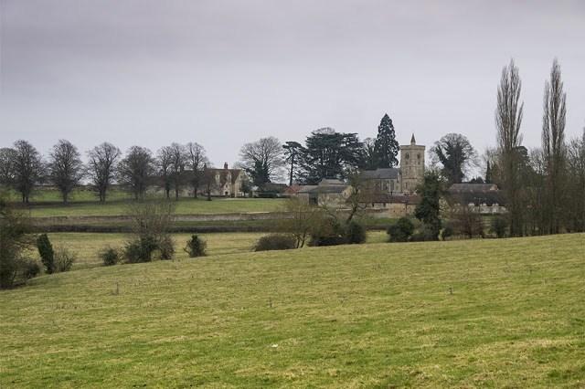Closer photo of the church at Calverton