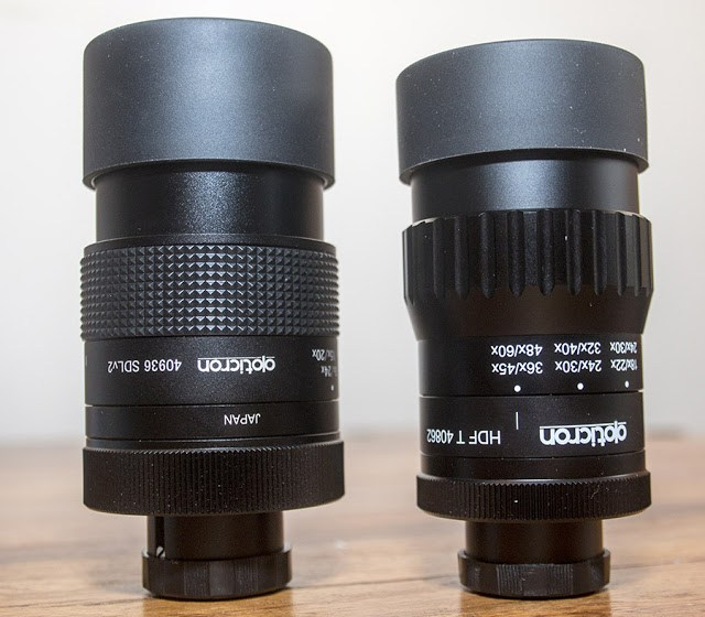 Opticron Eyepieces side by side SDL v2 (left) HDF T (right)