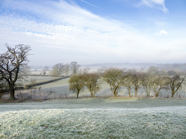 Milton Keynes Walks - frosty view over the Ouse Valley in Old Wolverton