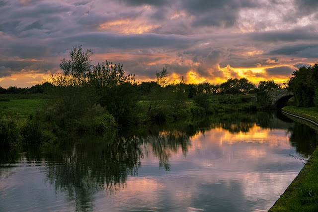 Sunset on the Grand Union Canal as it Runs through Milton Keynes