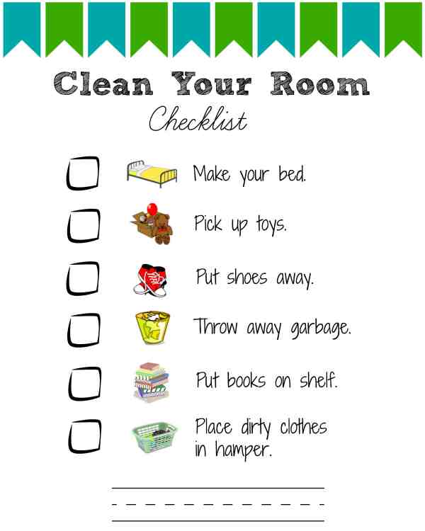 Kids Room Cleaning Checklist Printable