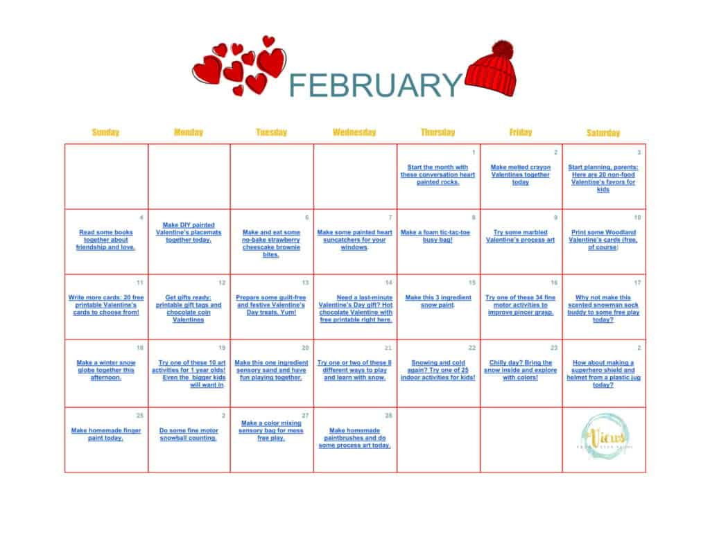 February Calendar Of Activities For Toddlers And