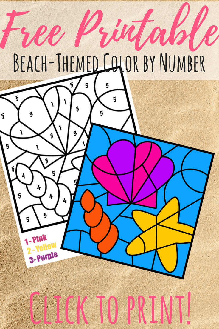 Free Color By Number Beach Printable Views From A Step Stool