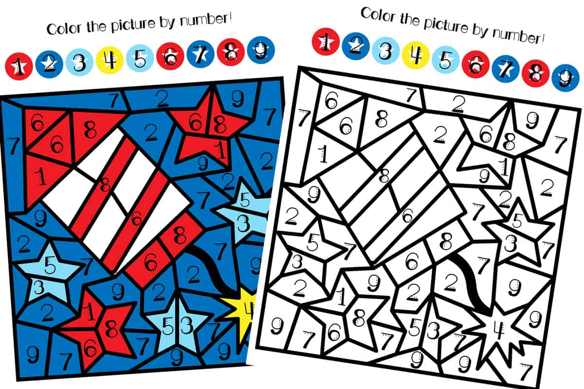4th Of July Color By Number Printable