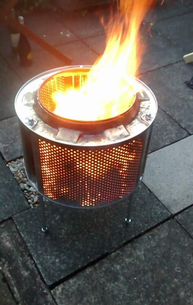 Fire pit made from a washing machine