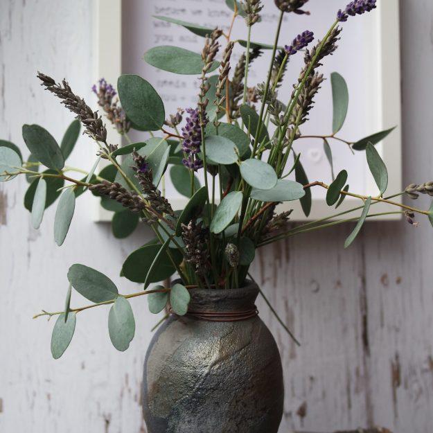 lavender euchalyptus blue raku vase quote