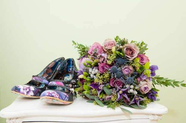irregular choice purple floral candy whistle shoes and purple, lavender, rose wedding bouquet