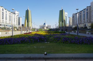 Astana, the capital of Kazakhstan, is known for its flowers and architecture. Oil boom has transformed the city into a world class tourist destination.(Photo by Ken and Nyetta, Creative Commons License)