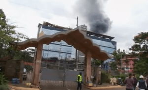Smoke is coming out of Nairobi's Westgate Mall on September 21 after al-Shabbab terrorists attacked the mall. (Photo off video stream)