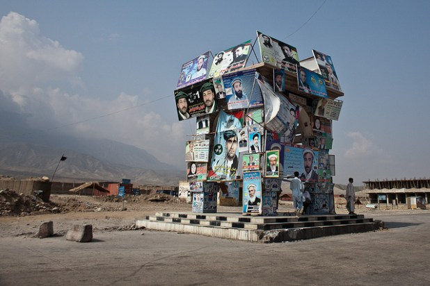 Election posters on display on a municipal property in Jalabad in eastern Afghanistan ahead of elections in 2011. (Photo by by imtfi, Creative Commons License)