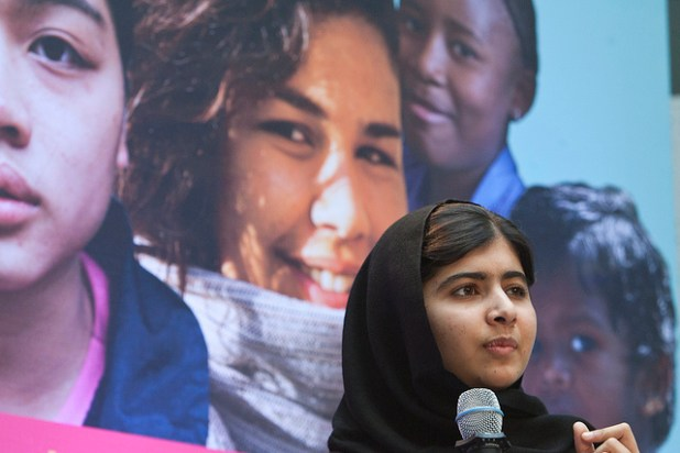 Malala Yousafzai speaking at World Bank headquarters in Washington DC on October 11. (Photo by Simone D. McCourtie via World Bank photo collection)