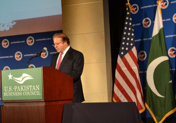 Prime Minister Nawaz Sharif addressing US-Pakistan Business Council in Washington DC on October 21. (Photo by Kausar Jawed)