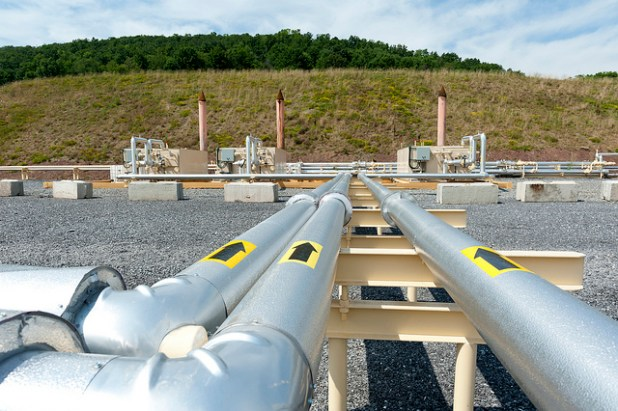 Shale gas pipes at a field in Pennsylvania. (Photo by Beyond Coal and Gas)
