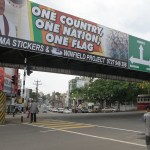 A billboard in Nugegoda section of Colombo with a nationalist message. (Photo by Dennis S Hurd, Creative Commons License)