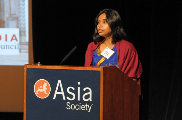 Devyani Khobragade addressing an audience in Asia Society. Khobragade's arrest in New York has sparked a diplomatic rift between the US and India.(Photo by Elsa Ruiz:Asia Society, Creative Commons License))