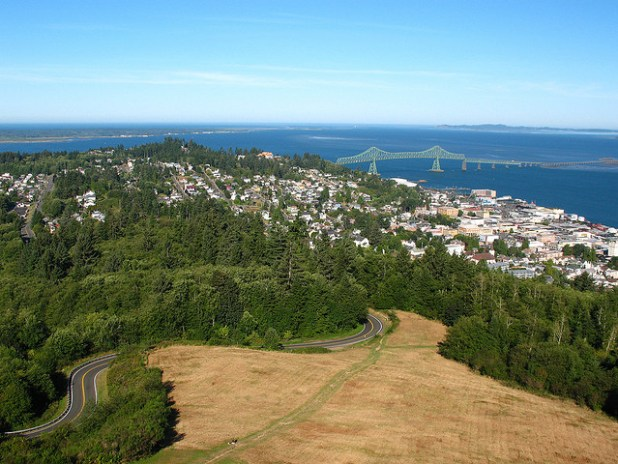 Astoria, Oregon, where the Columbia River meets the Pacific Ocean. (Photo by fusionpanda, Creative Commons License)