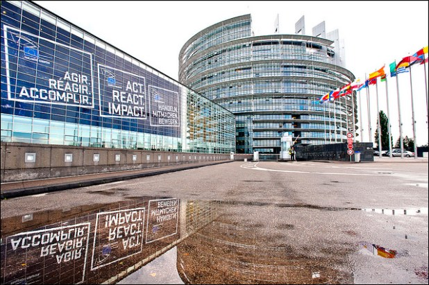 Building decorations displaying the slogan for the European election. (Photo  by European Parliament, Creative Commons License)