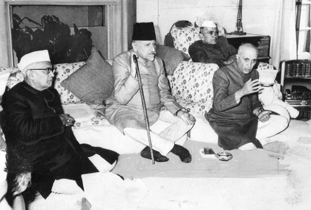 Maulana Azad made extensive observations on the education system and syllabi in the context of his own education in the late 19th Century. Picture shows Azad (centre) with Prime Minister Jawaharlal Nehru, Sayed Mahmud, and Kailash Nath Katju in 1955. (Photo via The Hindu)