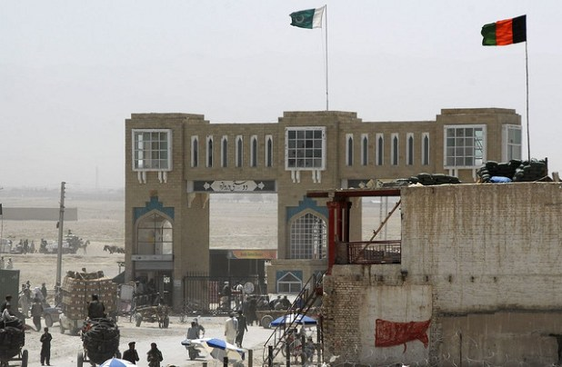 The Friendship Gate in the city of Wes, Afghanistan, is the local border crossing between Pakistan and Afghanistan. (Photo by lafrancevi, Creative Commons License)