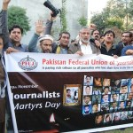 Pakistani journalists protesting violence against media in Peshawar in November 2013. (Photo via Facebook)
